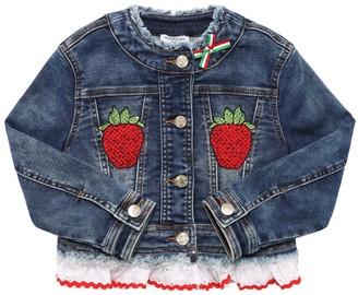 MonnaLisa Strawberry Embroidered Denim Jacket