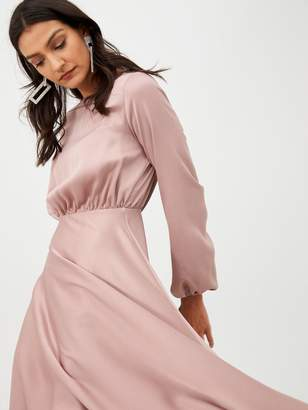 Very Blouson Sleeve Satin Midi Dress - Blush