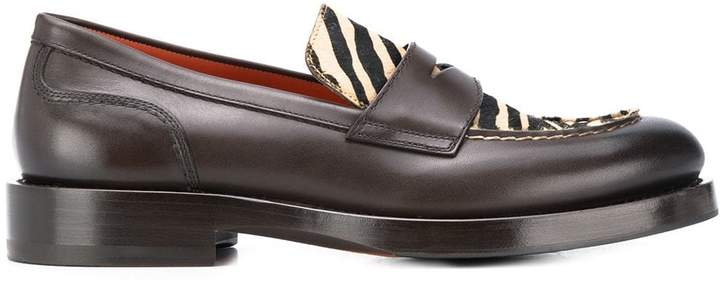 Santoni animal print loafers