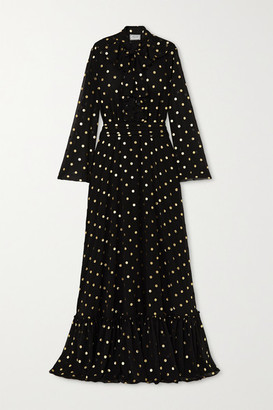 Redemption Pussy-bow Ruffled Metallic Polka-dot Chiffon Gown - Black