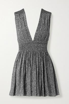 Saint Laurent Smocked Metallic Silk-blend Mini Dress - Silver