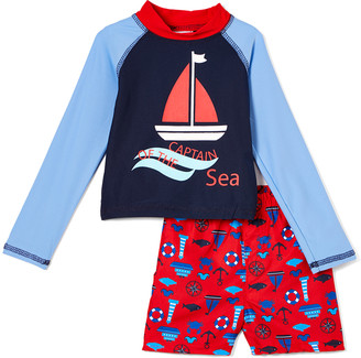 Sweet & Soft Boys' Board Shorts Red - Red & Blue 'Captain of the Sea' Nautical Long-Sleeve Rashguard Set - Infant & Toddler