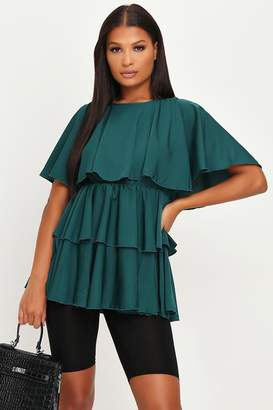 I SAW IT FIRST Emerald Green Tiered Frill Smock Top