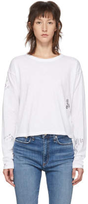 Rag & Bone White Cropped Tattoo Embroidered Long Sleeve T-Shirt
