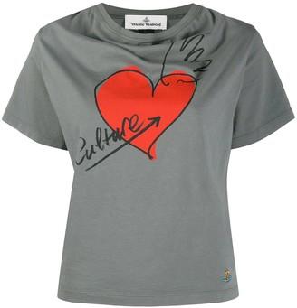 Vivienne Westwood heart-print cowl-neck T-shirt