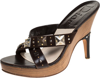 Christian Dior Brown Studded Leather And Suede Cross Strap Wooden Platform Mules Size 36.5