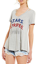 Moa Moa Stars and Stripes V-Neck Clavical-Cutout Americana Short-Sleeve Tee