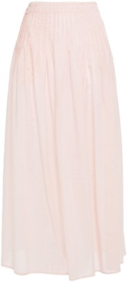 Marysia Swim Pleated Gingham Tencel And Cotton-blend Midi Skirt