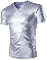 SILKQA Men's Sports Elastic Paint Faux Leather Sexy Tight T-shirts (L, )