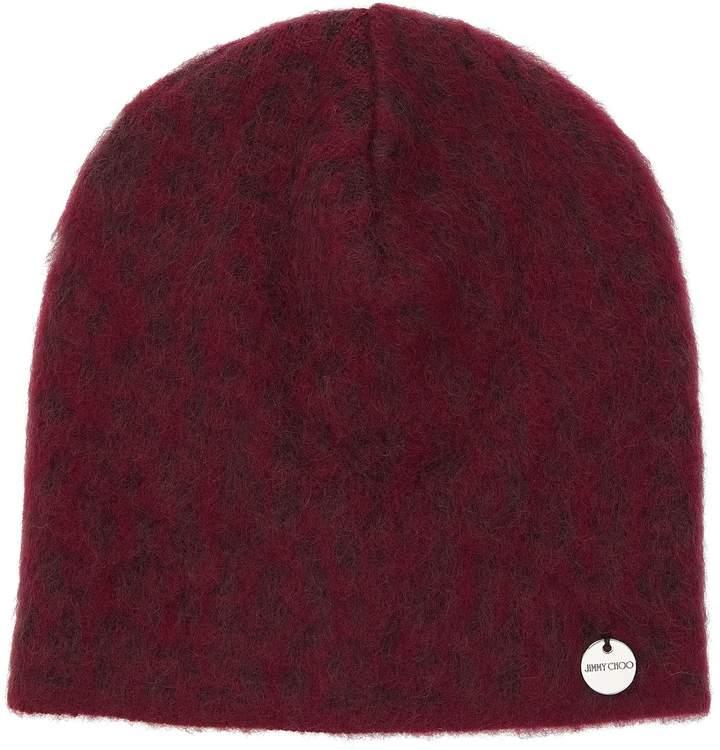Jimmy Choo AMY Grape Leopard Print Patchwork Hat