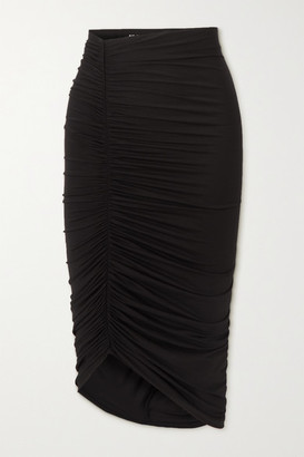 Alix Langston Asymmetric Ruched Stretch-jersey Skirt - Black