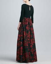 Aidan Mattox Jersey Print Combo Gown