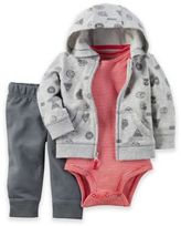 Carter's 3-Piece Little Jacket, Bodysuit, and Pant Set in Grey/Red