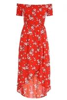 Quiz Red and White Floral Print Dip Hem Dress