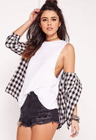 Missguided High Neck Drop Armhole Tank Top White