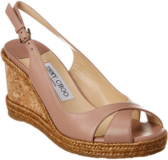 Jimmy Choo Amely 80 Leather Wedge Sandal