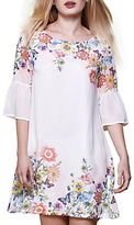 Yumi Floral Print Flared Sleeve Dress, Ivory