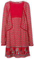 Fat Face Girls' Isla Embroidered Print Dress, Red