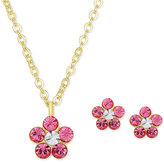Macy's Children's Crystal Flower Pendant Necklace and Stud Earrings Set in 18k Gold-Plated Sterling Silver