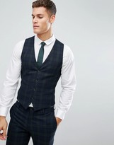 Jack & Jones Premium Skinny Waistcoat In Blackwatch Check