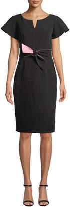 Milly Italian Cady Tina Short-Sleeve Dress w/ Twist Detail