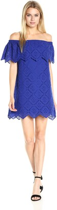 Kensie Women's Eyelet Off The Shoulder Dress
