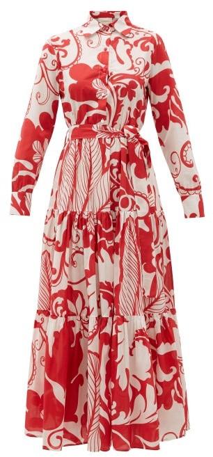 La DoubleJ Bellini Floral-print Cotton-voile Maxi Dress - Womens - Red Print