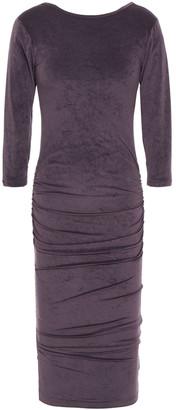 James Perse Ruched Stretch-velvet Midi Dress
