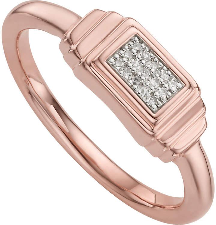 Monica Vinader Baja Deco 18ct Rose Gold and Diamond Ring