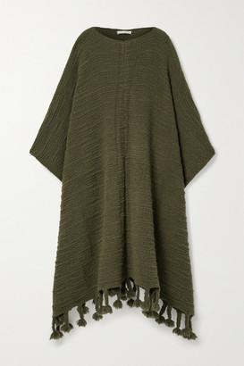 The Row Follain Fringed Merino Wool-blend Poncho - Army green