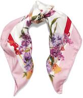 Dolce & Gabbana Floral-print Silk-twill Scarf - Pink