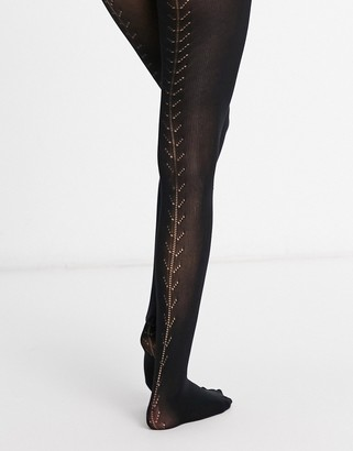 Pretty Polly soft opaque tights with back seam detail in black