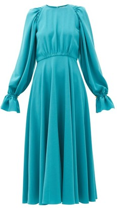 Roksanda Raima Gathered Crepe Midi Dress - Womens - Blue