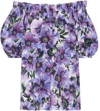 Dolce & Gabbana Floral cotton off-shoulder blouse