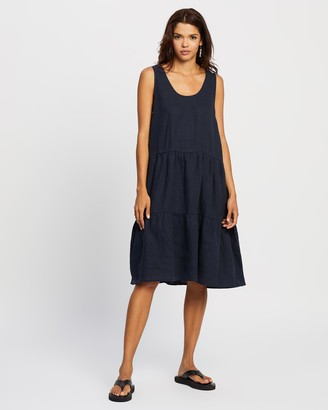 Assembly Label - Women's Blue Midi Dresses - Tiered Linen Dress - Size 8 at The Iconic
