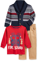 Nannette Baby Boys' 3-Pc. Shawl Fair Isle Sweater, T-Shirt & Pants Set