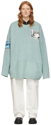 Raf Simons Blue Merino Oversized Patch Sweater
