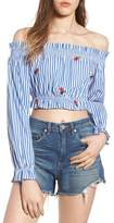 Chloe & Katie Chloe + Katie Embroidered Off the Shoulder Crop Top