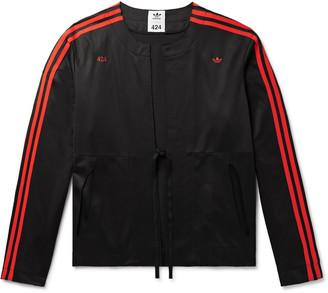 adidas Consortium - 424 Logo-Embroidered Striped Stretch-Jersey Track Jacket - Men - Black