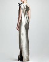 Lanvin One-Shoulder Duchess Satin Column Gown