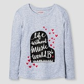 Girls' Long Sleeve Music Graphic Tee Shirt Cat & Jack - Grey