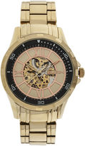 Elgin Mens Gold-Tone Skeleton Watch