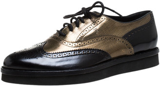Tod's Black/Gold Brogue Leather Lace Up Oxford Size 39.5