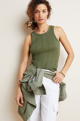Anthropologie Robin Ribbed Tank By in Beige Size S