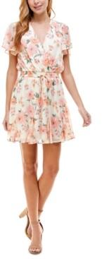 Trixxi Juniors' Floral-Print Flutter-Sleeve Dress