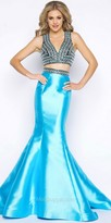 Mac Duggal Fully Beaded Satin Two Piece Trumpet Evening Dress