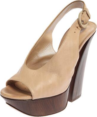 Casadei Beige Leather Platform Peep Toe Slingback Sandals Size 35