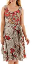 Robbie Bee Sleeveless Belted Corkscrew Dress - Petite