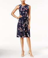 Charter Club Petite Printed Belted Midi Dress, Only at Macy's