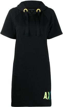 Armani Exchange Embroidered-Logo Hooded Dress